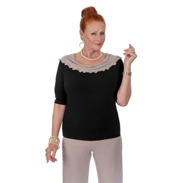 Boat Neck Fluted Collar Top