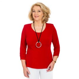 Ruched Sleeve Round Neck Top