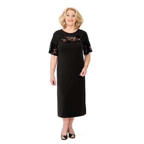 Short Sleeve Lace Insert Dress